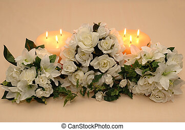 Wedding Bouquets - Wedding bouquets and candles on peach...
