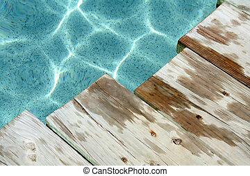 Wet Wood - Planks of wet wood beside a beautiful crystal...