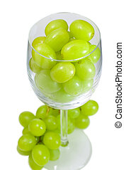Grapes in wine glass top view - Green grapes in wine glass,...