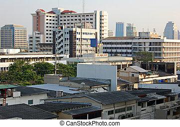 Bangkok - Jumble of buildings in central Bangkok metropolis