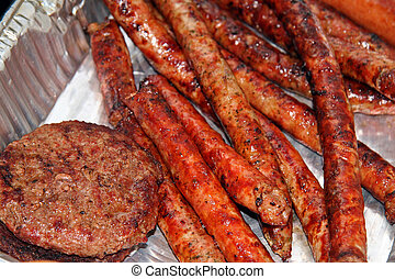 Hamburgers and Sausages after a BBQ Roast
