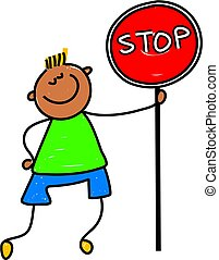 stop kid - happy little asian boy holding a stop sign -...