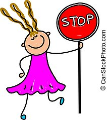 stop kid - happy little girl holding a stop sign - toddler...