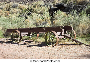 Antique wagon - Old  pioner hay wagon in the fields of Utah