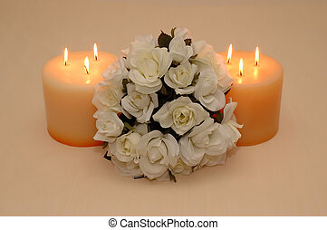 A bouquet of Roses - A bouquet of roses and two candles...