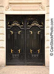 Doors - Black iron doors in old building in Paris France