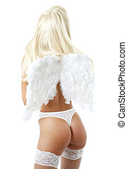 lingerie angel 2 - blond girl with angel wings over white