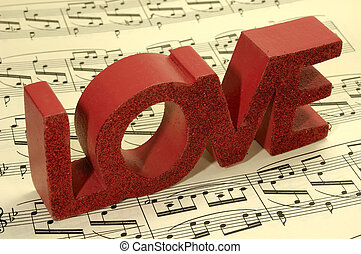 Love Song - Photo of Sheetmusic With The Word Love on Top