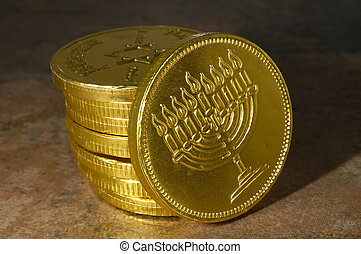 Happy Chanukah Coin - Photo of a Chocolate Chanukah Coin...