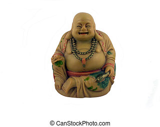 Budda sitting with his legs crossed, over white