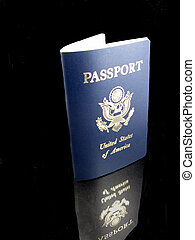 US Passport - A US Passport with a reflection over a black...