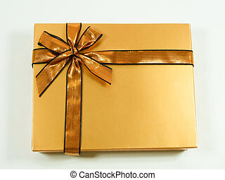 Gift 1 - Gold gift with shinny ribbon and bow
