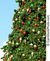 Giant X-mas Tree - Shot of a giant Christmas tree at Cranes...