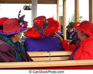 Red Hat Society - red hat society ladies on trolley train...