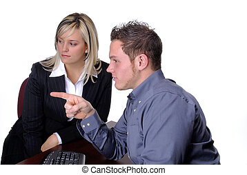 Business Team - Call Center Sales Person With His Female...