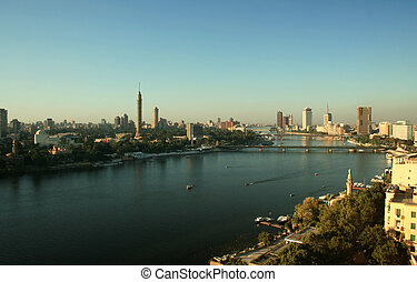 The River Nile at Cairo - The River Nile running past...