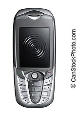 Mobile phone with black screen with ripple and grey keyboard