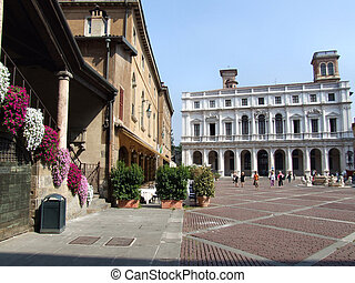 Old town square - Main square in an Italian town. Beautiful...