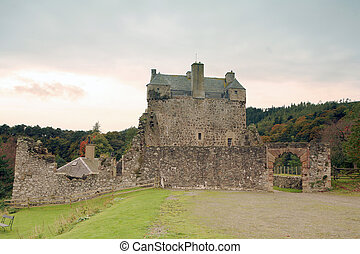 Neidpath in autumn - Historic Neidpath Castle, Peebles,...