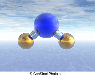 Molecule of water above ocean. Abstract. 3D.