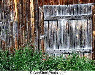Old wooden door to a shed - Old wooden door - entrance to a...