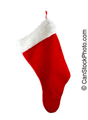 Hanging Christmas Stocking Isolated on a White Background