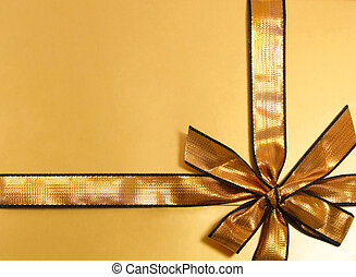 Present 2 - Gold gift with shinny ribbon and bow