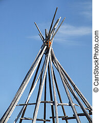 Wooden wigwam tepee frame - Wigwam construction frame in...