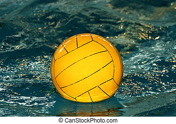 Yellow water-polo ba - The image of a yellow ball on water
