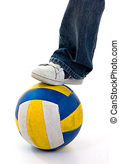 Foot on Ball - Foot on ball on white background