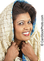 Indian Woman Portrai - A closeup portrait of a beautiful...
