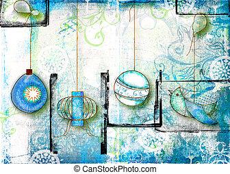 Grunge Xmas - Grunge background with Christmas toy...