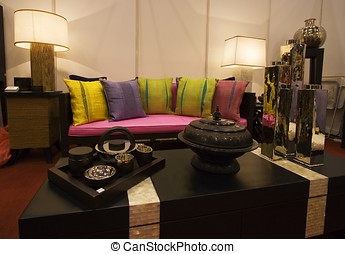 Living Room - An modern living room with antique decoration.