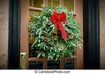 Antiqued Christmas Wreath hanging on door - christmas wreath...