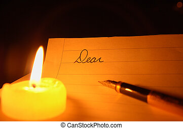 Candlelit Greeting - The start of a letter to be written by...