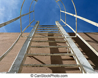 Steel Ladder 01 - Metal ladder mounted on the wall of a...