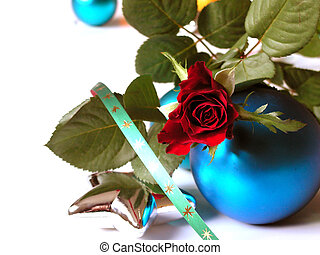 Merry Christmas - Rose, baubles, star and ribbon on white...
