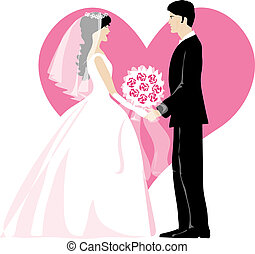 Bride and bridegroom standing together heart in the...