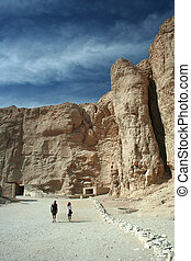 Valley of the Kings - Tourists in the Valley of the Kings,...