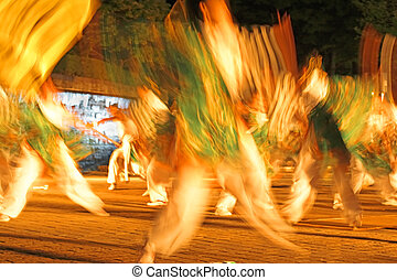 Night Japanese dance-motion blur abstract - Motion blur...