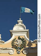 liberty sign guatemala - liberty sign on historic building...