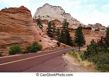 Mountain road through Zion National Park in Utah