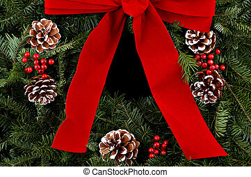Christmas wreath - A beautiful christmas wreath with red...