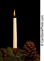 Seasonal Candle - Lit white taper candle in holder...