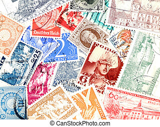 Old post stamps from Europe - Various old postage stamps....