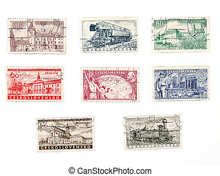 Old postage stamps from Czechoslovakia - Vintage postage...