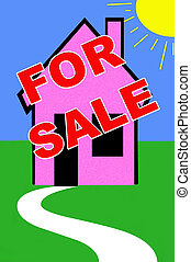 real estate illustration with for sale sign on a house