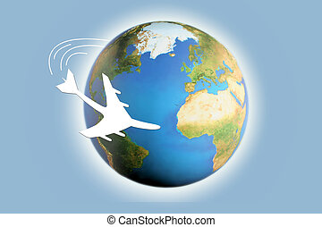 world travel - an illustration of airplane circling the...