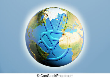 peace on earth - an illustration of the world with a 3d...