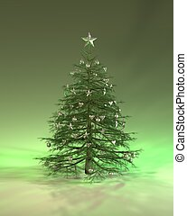 Green Silver Christmas Tree